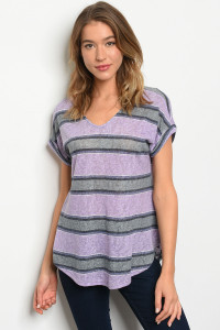 C58-B-5-T8059 PURPLE GREY STRIPES TOP 2-2-2