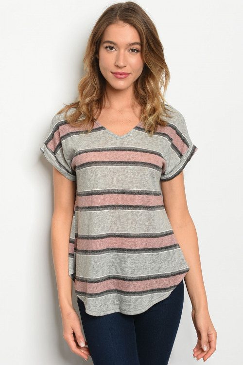 C58-B-3-T8059 GREY MAUVE STRIPES TOP 2-2-2