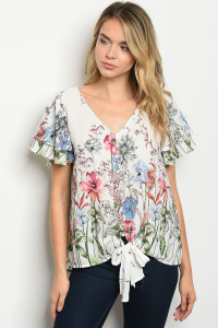 C55-B-3-T51481B IVORY FLORAL TOP 2-2-2