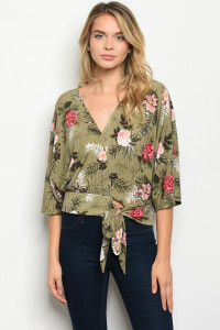 C33-A-2-T51402 OLIVE FLORAL TOP 2-2-2