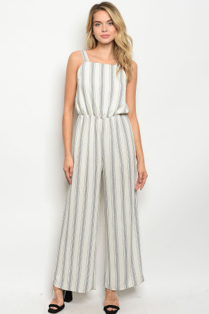 C72-A-1-J51566 IVORY BLACK STRIPES JUMPSUIT 2-2-2