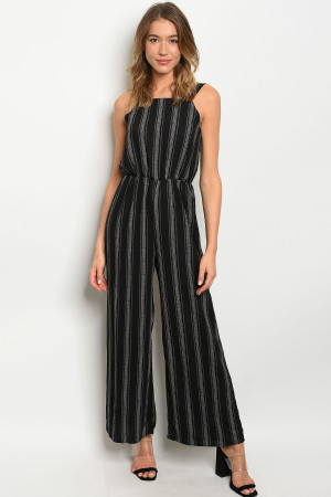 C68-A-6-J51566 BLACK WHITE STRIPES JUMPSUIT 2-2-2