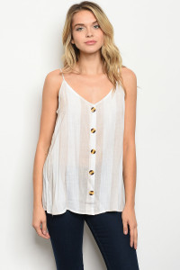 S68-B-3-T51341 WHITE TAUPE STRIPES TOP 1-2-2-2
