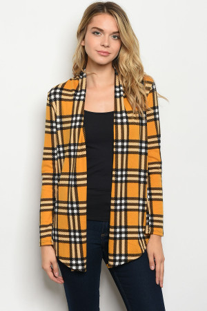 C89-B-6-C701485 MUSTARD CHECKERED CARDIGAN 2-2-2