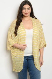 S8-8-4-C3091X YELLOW STRIPES PLUS SIZE CARDIGAN 3-2-1