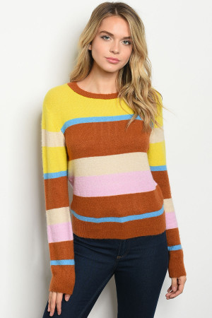 S10-14-1-S7808 YELLOW MULTI SWEATER 2-2-2