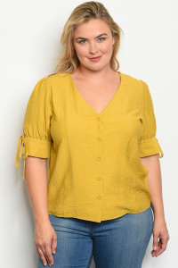 S10-10-4-T7540 MUSTARD PLUS SIZE TOP 1-2-2-1