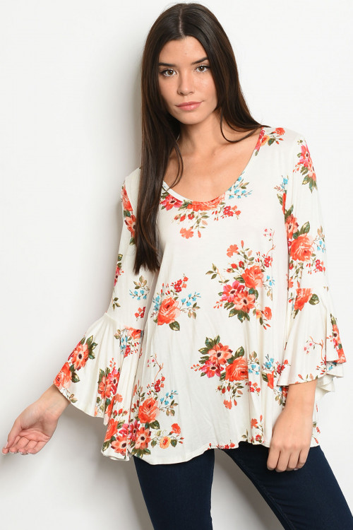 C12-B-1-T7573 IVORY FLORAL TOP 3-2-2