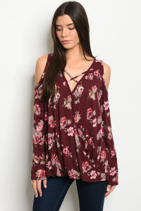 C12-B-2-T2628 BURGUNDY FLORAL TOP 2-2-2