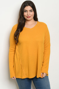 C32-A-4-T2245X MUSTARD PLUS SIZE TOP 2-2-2