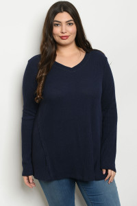 C38-A-6-T2245X NAVY PLUS SIZE TOP 2-2-2
