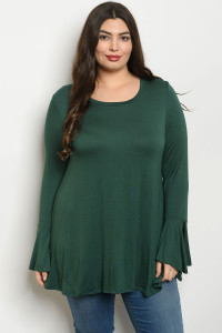 C44-A-6-T2136X HUNTER GREEN PLUS SIZE TOP 2-2-2