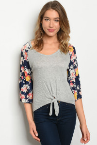 S11-17-1-T24295 GRAY NAVY FLORAL TOP 2-2-2
