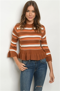 S10-12-2-T121572 CAMEL MIX STRIPES SWEATER 2-2-2