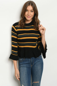 S9-9-3-T121572 BLACK MIX STRIPES SWEATER 2-2-2
