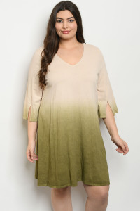 S11-4-3-D32922X TAN OLIVE PLUS SIZE DRESS 3-2-1