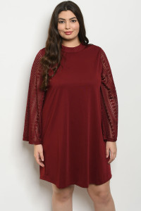 S12-1-4-D43042X WINE PLUS SIZE DRESS 3-2-1