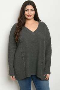 S12-3-4-T121712 CHARCOAL PLUS SIZE SWEATER 3-3