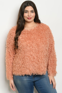 S20-7-1-T24627X PEACH PLUS SIZE SWEATER 3-2-1