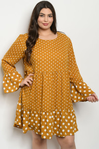 S20-7-1-D43077X MUSTARD WHITE WITH DOTS PLUS SIZE DRESS 2-1-1