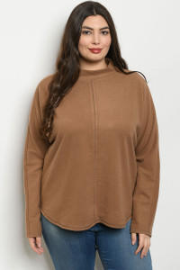 S9-16-4-T14358X MOCHA PLUS SIZE SWEATER 3-2-1