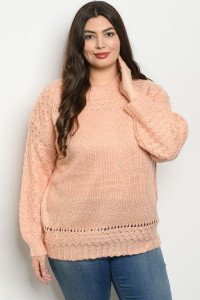 S20-3-2-S121674X PEACH PLUS SIZE SWEATER 3-2-1