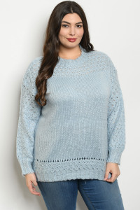 S19-4-1-S121674X BLUE PLUS SIZE SWEATER 3-2-1