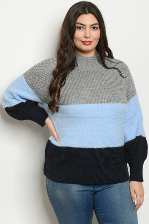 S19-4-2-S121661X GRAY BLUE PLUS SIZE SWEATER 3-2-1