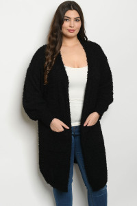 S11-3-1-C121687X BLACK PLUS SIZE CARDIGAN 3-2-1