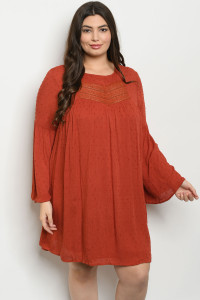 S9-16-4-D43021X RUST PLUS SIZE DRESS 3-2-1