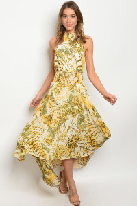S11-9-4-D1929 YELLOW ANIMAL PRINT DRESS 3-2-1