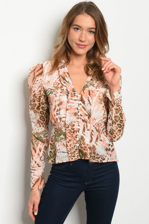 S10-2-4-T5832 MAUVE ANIMAL PRINT TOP 3-2-1
