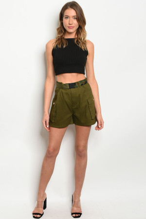 S15-10-3-S82406 OLIVE SHORTS 4-2-1