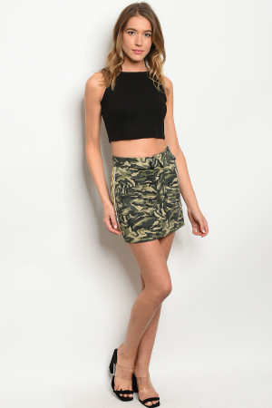 S19-11-1-S81935 OLIVE CAMOUFLAGE SKIRT 3-2-1