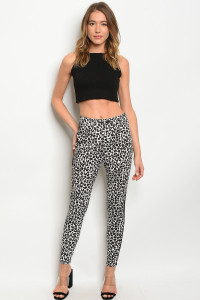 S19-11-2-P82210 WHITE BLACK ANIMAL LEOPARD PRINT PANTS 3-2-1