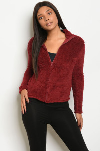 C37-B-1-J4793 BURGUNDY FLEECE JACKET 2-3-1