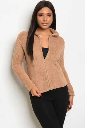 C44-B-3-J4793 BEIGE FLEECE JACKET 2-2-2