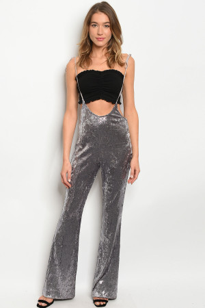 S12-2-4-J81584 SILVER WITH SEQUINS JUMPSUIT 3-2-1  ***WARNING: California Proposition 65***