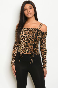 S19-7-3-T18544 BLACK ANIMAL LEOPARD PRINT TOP 2-2-2