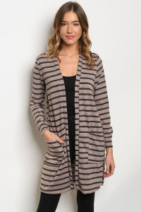 C79-A-1-C0624 BLUSH CHARCOAL STRIPES CARDIGAN 2-3-1