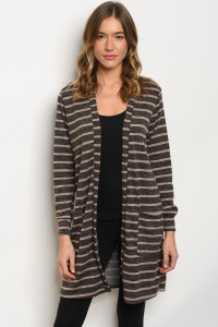 C84-A-6-C0624 BROWN BLUSH STRIPES CARDIGAN 2-2-2
