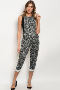 S7-2-3-O89008 GRAY WHITE LEOPARD PRINT OVERALL 2-2-2