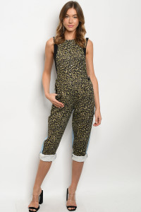 S10-17-1-O89008 OLIVE BLUE LEOPARD PRINT OVERALL 3-2-2
