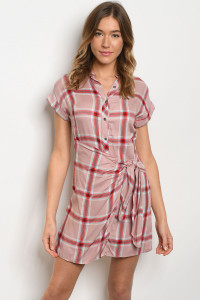 S9-18-3-D19857 BLUSH CHECKERED DRESS 3-2-2