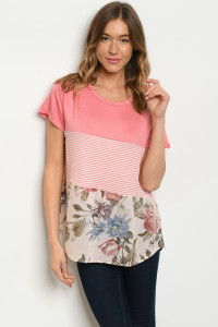 C85-A-1-T15798 CORAL STRIPES FLORAL TOP 1-2