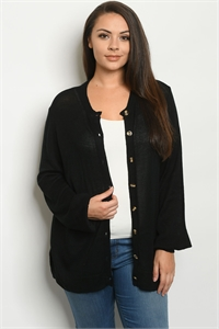 SA3-7-3-C2701X BLACK PLUS SIZE CARDIGAN 2-2-2