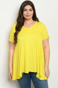 S22-7-2-T12329X YELLOW PLUS SIZE TOP 3-2-2