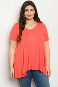 S21-10-4-T12329X CORAL PLUS SIZE TOP 3-2-1