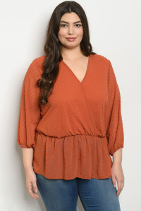 S16-8-5-T1108X RUST PLUS SIZE TOP 2-2-2