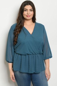 S22-7-1-T1108X TEAL PLUS SIZE TOP 1-3-2